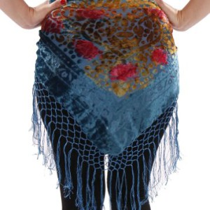 Belly Dance Velvet Hip Scarf with Fringe | Sunset and Dusk – Turquoise