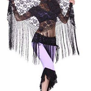 Feimei Women's Belly Dance Long Tassels Lace Triangle Hip Scarf Black